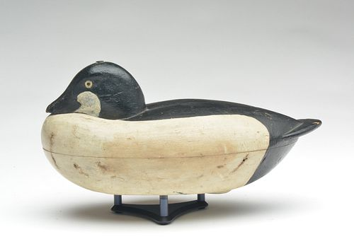 Important hollow carved goldeneye drake, Albert Laing, Stratford, Connecticut and New York, New York, 3rd quarter 19th century.