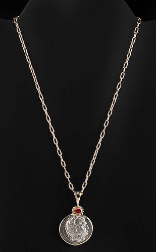 Alexander Tetradrachm w/ Gold & Opal Setting Necklace