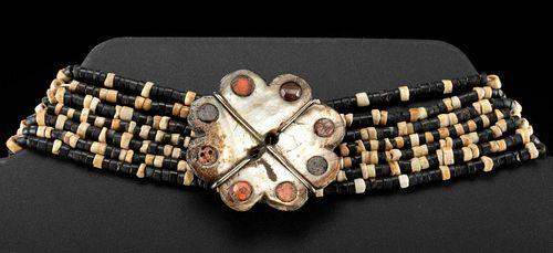 Moche Shell Bead Choker w/ Mother of Pearl Pendant