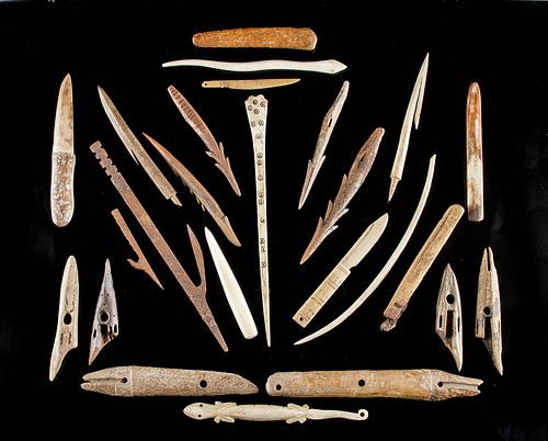 Lot of 25 Late 18th C. Inuit Bone, Iron & Ivory Tools