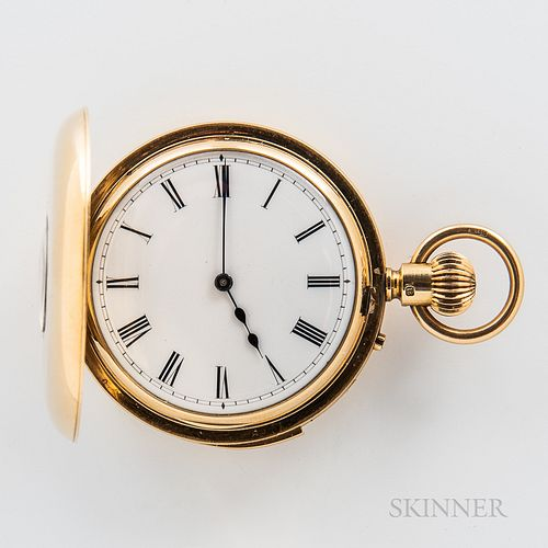 18kt Gold Demi-hunter Repeating Watch, London, 19th century, roman numeral porcelain dial with outer minute track, blued-steel hands, r