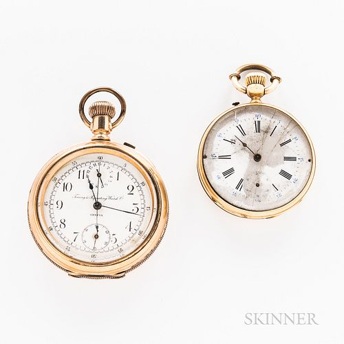Two Open-face Watches, unmarked 18kt gold Swiss with roman numeral dial, stem-wind, pin-set swiss bar movement, and a Timing & Repeatin