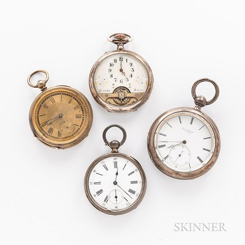 """Four European Open-face Watches, an eight-hour with exposed balance and arabic numeral dial, and """"Spiral Breguet"""" movement; key-wind, k"""