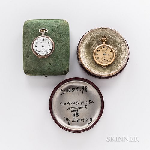 Two Open-face Ball Watch Co. Pendant Watches, both with arabic numeral dials, and stem-set, stem-wind movements, and housed in early je