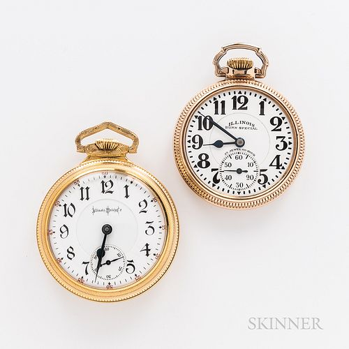 "Two Illinois ""Bunn Special"" Open-face Watches, engine-turned 24-jewel no. 145088 stem-wind, lever-set movement, arabic numeral dial wit"