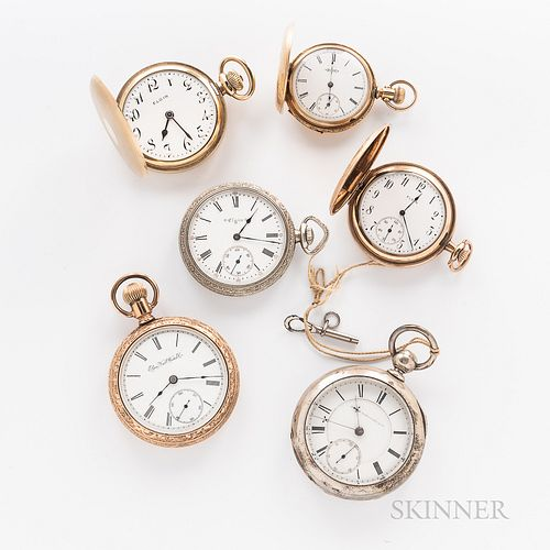 Six Elgin Watch Co. Watches, an Elgin gold-filled hunter-case marked on movement 17-jewel/574/U941200, with raised dot arabic numeral d