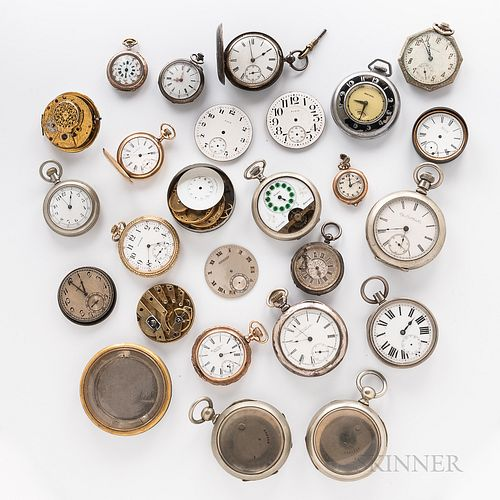 Collection of Pocket Watches, Cases, Dials, and Movements, American and European pin-set, lever-set, or stem-wind movements, all in gol