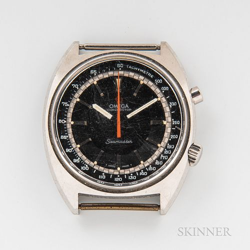 """Omega Chronostop """"Seamaster"""" Reference 145.007 Wristwatch, stainless steel case with two-tone dial, marked """"Omega Chronostop/Seamaster"""""""