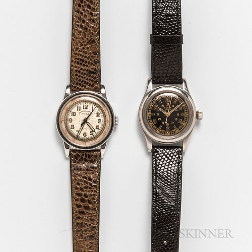 "Two Early Manual-wind Wristwatches, one marked on dial ""Rolex Observatory,"" with red 24-hour markings, the other with a black dial mark"