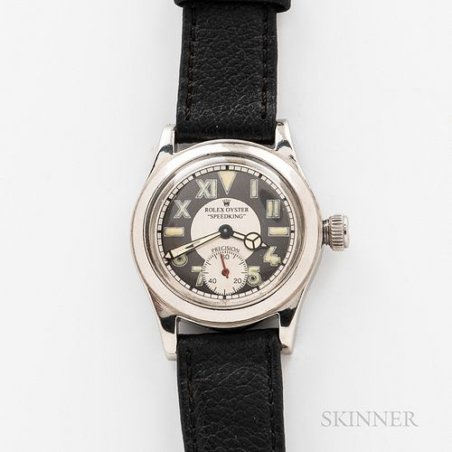 """Rolex California Dial """"Speed King"""" Wristwatch, base metal case with a repainted California dial marked as above, replaced oyster crown,"""