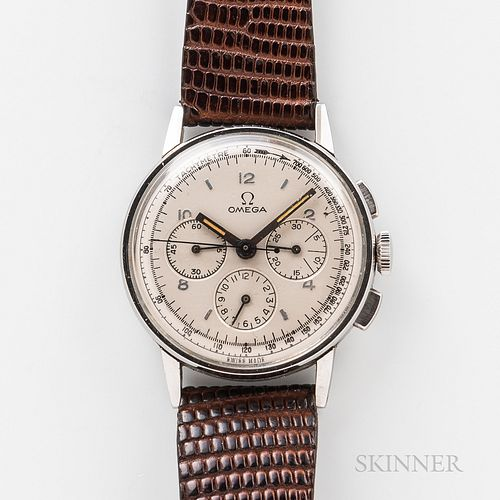 Omega Stainless Steel Three-register Reference 2279 Chronograph, silvered dial with applied baton and arabic numeral indices, interior