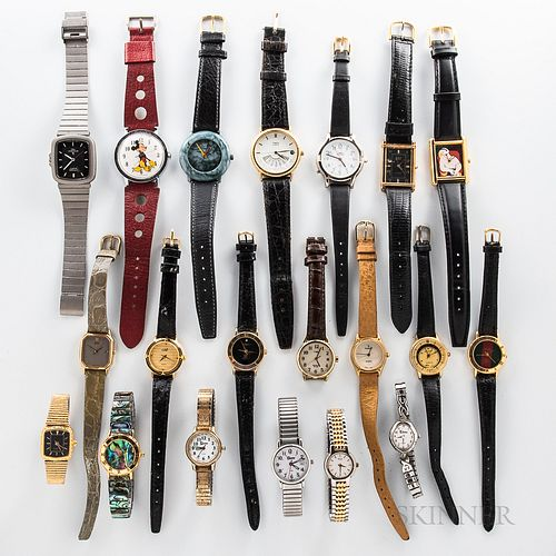 Twenty Contemporary Wristwatches, quartz and manual-wind examples.
