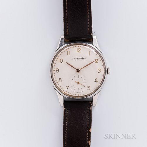 """IWC """"Oversized"""" Stainless Steel Wristwatch, c. 1950s, ivory-tone dial with applied gilt arabic numerals and sunk outer minute track, la"""