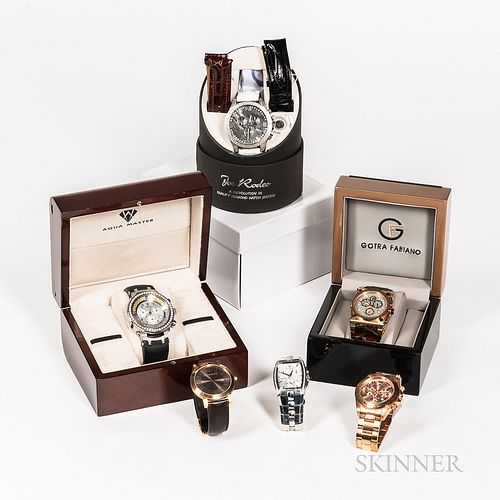 Six Contemporary Fashion Watches, a limited edition Gotra Fabiano chronograph with box; an Aqua Master stainless steel and paste stone