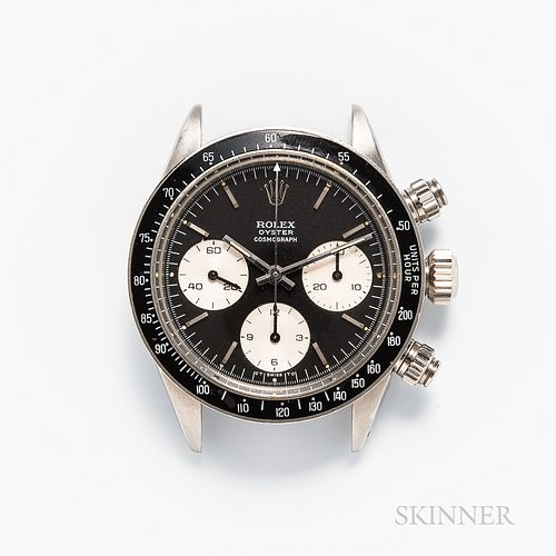 """Single-owner Rolex Daytona Cosmograph Reference 6263 """"Sigma"""" Dial Wristwatch, c. 1973, stainless steel case, black tachymetre insert, b"""