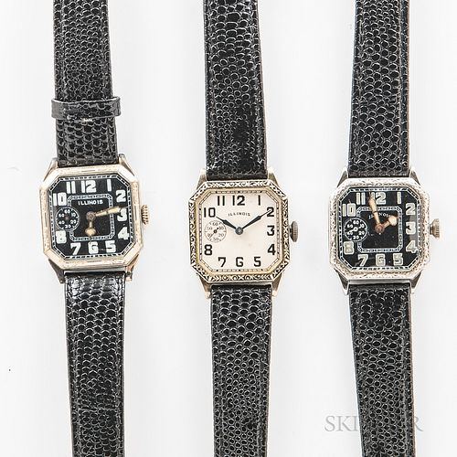 "Three Illinois Watch Co. ""Square Cut Corner"" Wristwatches, all in 14kt gold-filled engraved cases, 15-jewel manual-wind movements, dia."