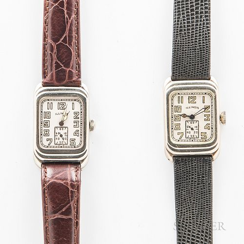 "Two Illinois Watch Co. ""Futura"" Wristwatches, both in 14kt gold-filled cases, 17-jewel, caliber 207 movements, dia. 23 mm."