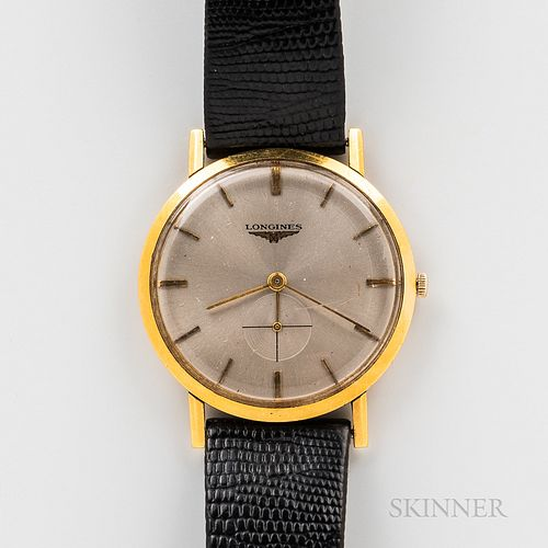 Longines 18kt Gold Wristwatch, brushed silvered dial with applied gilt stick indices, subsidiary seconds at 6, interior case back stamp