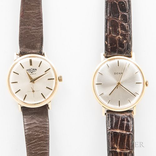 Two 14kt Gold Vintage Wristwatches, Vulcain and Doxa watches with 17-jewel manual-wind movements, dia. 33 and 34 mm.