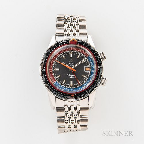 """Enicar Sherpa Mark III Guide """"Pepsi"""" Wristwatch, c. 1968, stainless steel case with the well preserved world time outer bezel, dual sig"""