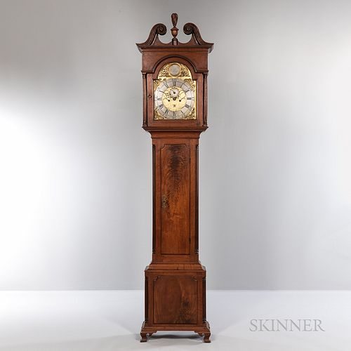 Philadelphia Walnut Tall Clock, William Huston, c. 1770, central carved flame finial atop the swan's neck carved hood with delicate den