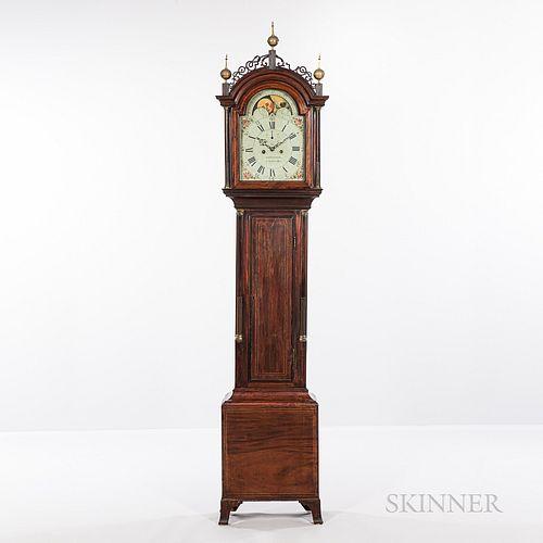 Simon Willard (1753-1848) Inlaid Mahogany Tall Clock with Isaiah Thomas Jr. (1749-1831) Printed Label and Case Attributed to Thomas Sey