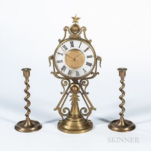 Unusual French Brass Candlestick Clock, last quarter 19th century, scroll-form brass case with a hinged 5 1/2-in. dia. bezel, opening t
