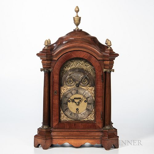 Henton Brown Hour-strike Musical Bracket Clock, London, 18th century, mahogany domed and shaped case with four cast brass pineapple fin