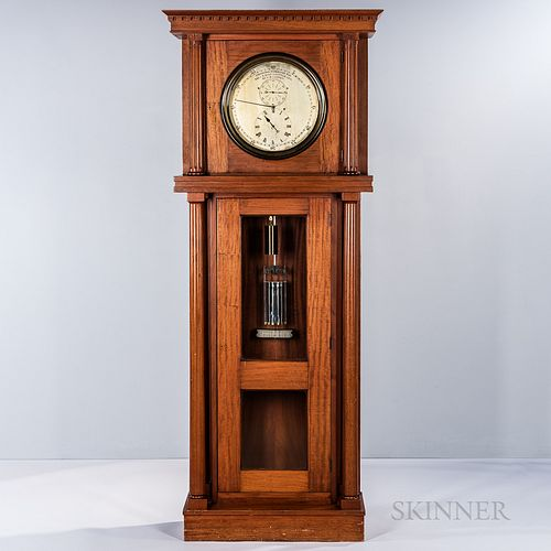C.R. Railroad Mahogany Astronomical Floor Regulator, flat-top case with dentil crown molding, freestanding fluted columns flank the hoo