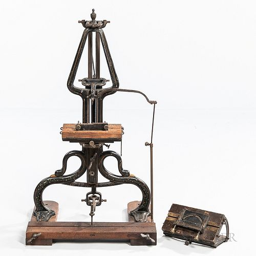 Early Cast Iron Engraving Machine, late 19th century, hand-painted pinstriping on frame with dual duck or swan's heads, two pantograph