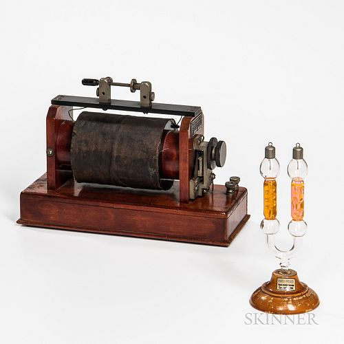 Two Branch Rudolf Pressler Geissler Tube and an Amrad-type Induction Coil, tube mounted to its original turned base with label, inducti
