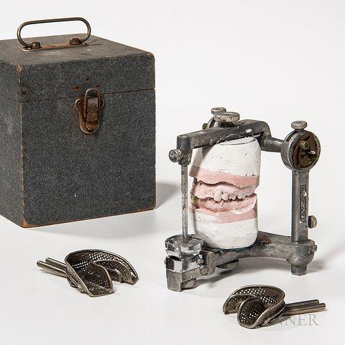 Vintage Horizontal Condylar Instrument, cast aluminum frame with hinged cross-bar, fine adjustment knobs on both pillars, and a set of