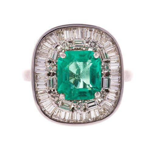 An Untreated 2.35 ct Emerald & Diamond Ring in 14K