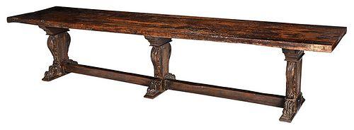 Impressive Italian Baroque Walnut Refectory Table