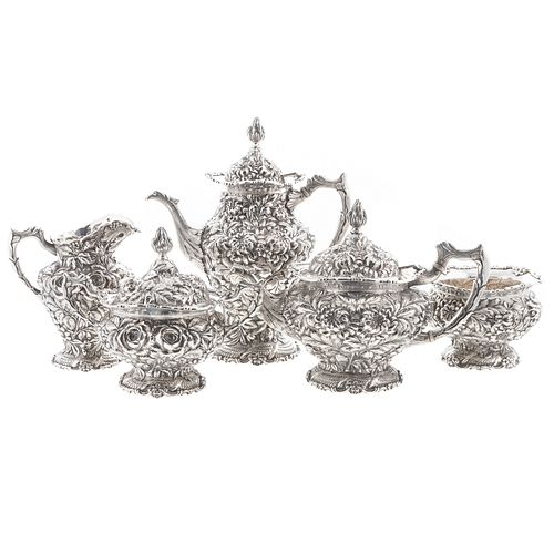 5-Piece Stieff Sterling Repousse Tea & Coffee Svc