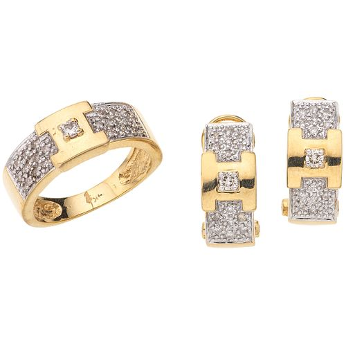 RING AND EARRINGS SET WITH DIAMONDS. 14K YELLOW GOLD
