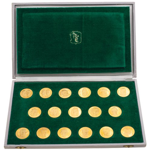 17 CONMEMORATIVE COINS OF THE KINGS OF SPAIN. 22K YELLOW GOLD