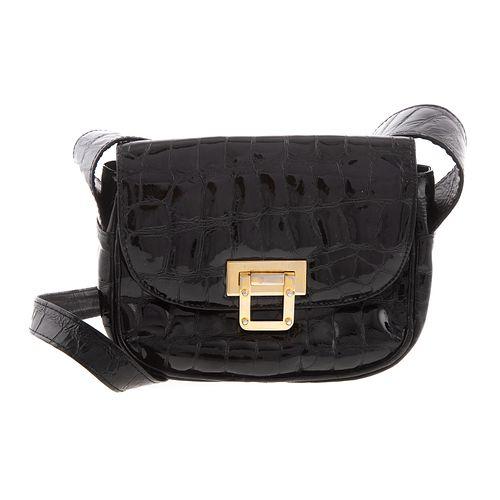 A Stuart Weitzman Patent Leather Croc Bag