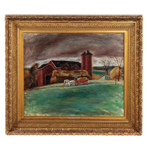 Walter Stuempfig. Farmyard Scene, oil