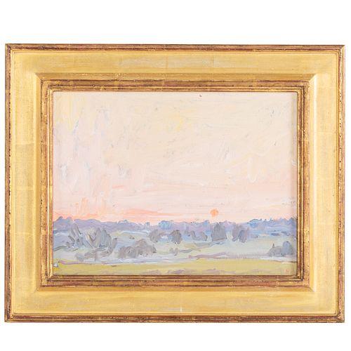 """Eugene Leake. """"Farm Sunrise,"""" oil"""