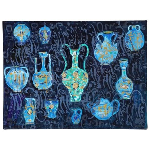 "Nasser Ovissi, 'Iranian, Born 1934' ""Ancient Vessels"" Oil on Canvas Painting"