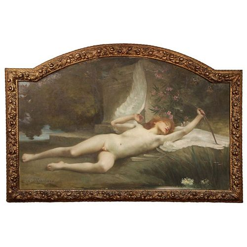 """Jules-Louis Machard (French 1839 - 1900) """"""""Dream of Eros"""""""" Exceptional Oil Painting"""