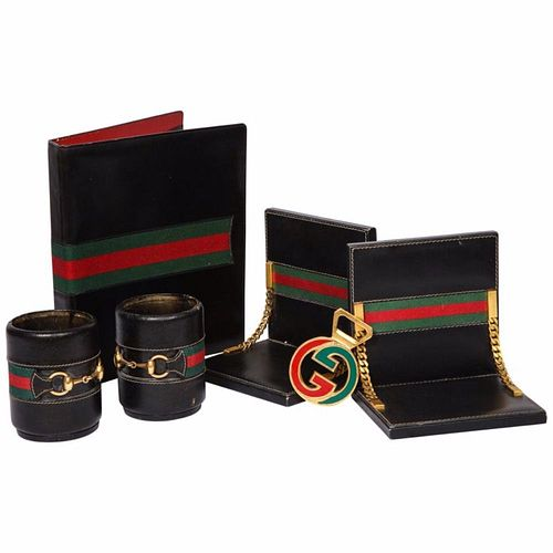 Rare Vintage Gucci 8 Piece Executive Italian Leather Desk Set Accessories, 1979