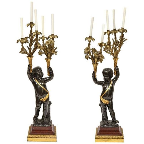 Monumental Pair of French Gilt and Patinated Bronze and Rouge Marble Candelabra