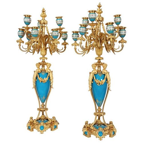 Exquisite Pair of French Ormolu & Turquoise Sevres Porcelain Candelabra