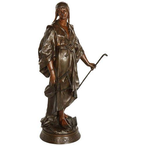 Emile-Louis Picault, A French Orientalist Bronze Figure of Queen Esther, C. 1870