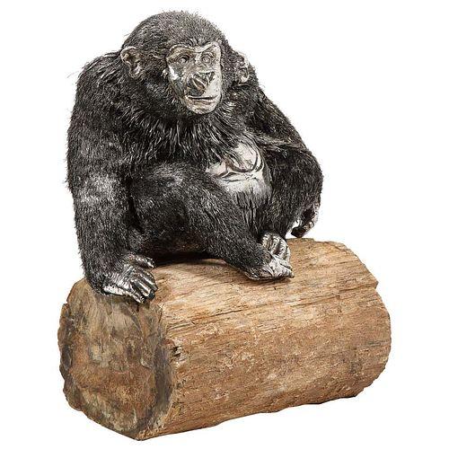 Mario Buccellati, a Rare and Exceptional Italian Silver Gorilla Monkey on Base