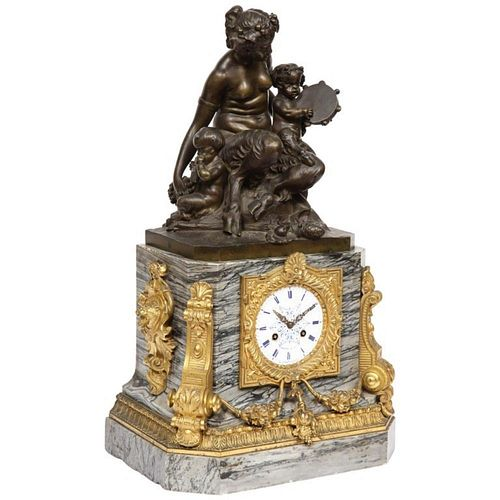 Thomire & Cie, French Gilt and Patinated Bronze and Marble Figural Mantel Clock