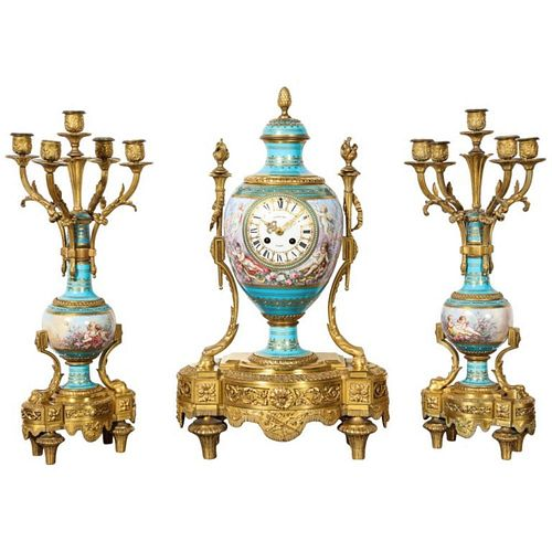 Exceptional French Ormolu-Mounted Turquoise Jeweled Sevres Porcelain Clock Set