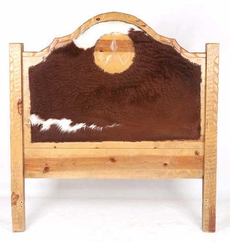 Western Steer Hide Upholstered Hewn Wood Queen Bed